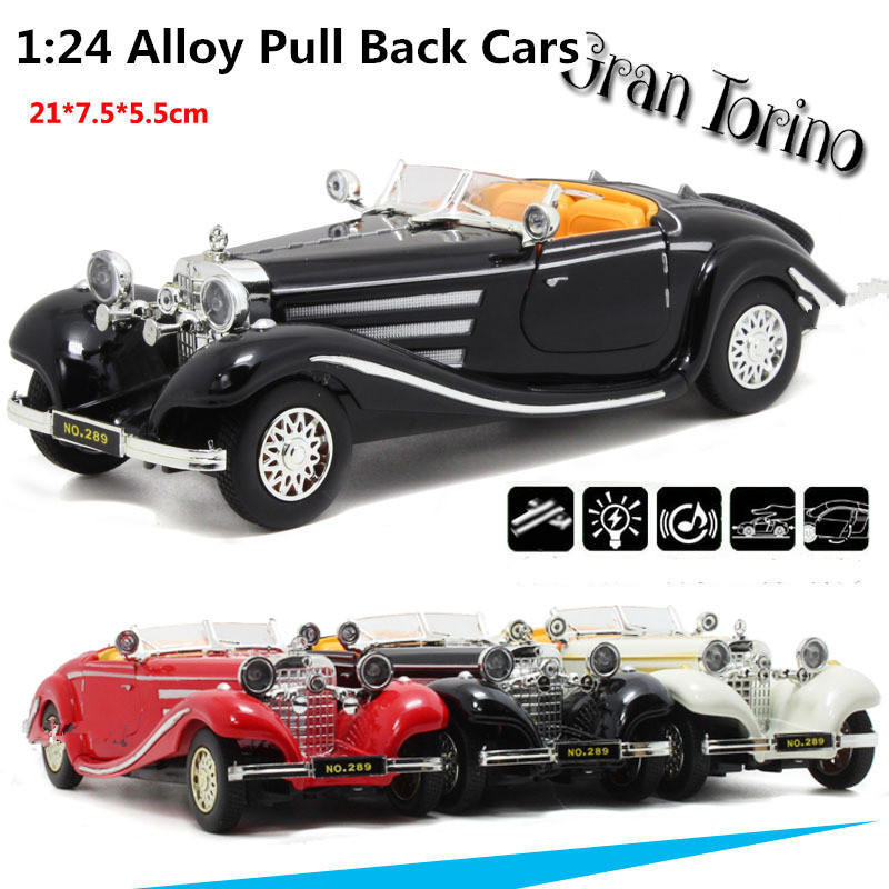 Supercar Deals Antique Classic Car 1:24 scale alloy pull back model car, Retro Diecast cars toy,Children's gift,free shipping(China (Mainland))
