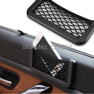 New Black Car Net Organizer Pockets Car Storage Net 15X8cm Automotive Bag Box Adhesive Visor Car Bag For Tools Mobile Phone75(China (Mainland))