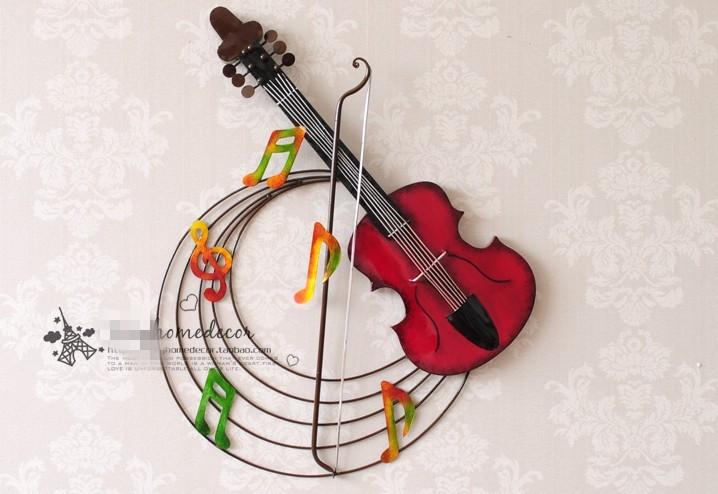 D coration moderne m tal wall art hand made m tal violon for Decoration murale note de musique