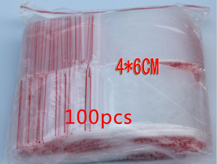 100PCS 4x6cm pe transparent travel plastic bag gift Packaging bags for necklace/jewelry small ziplock clear self seal bags diy(China (Mainland))