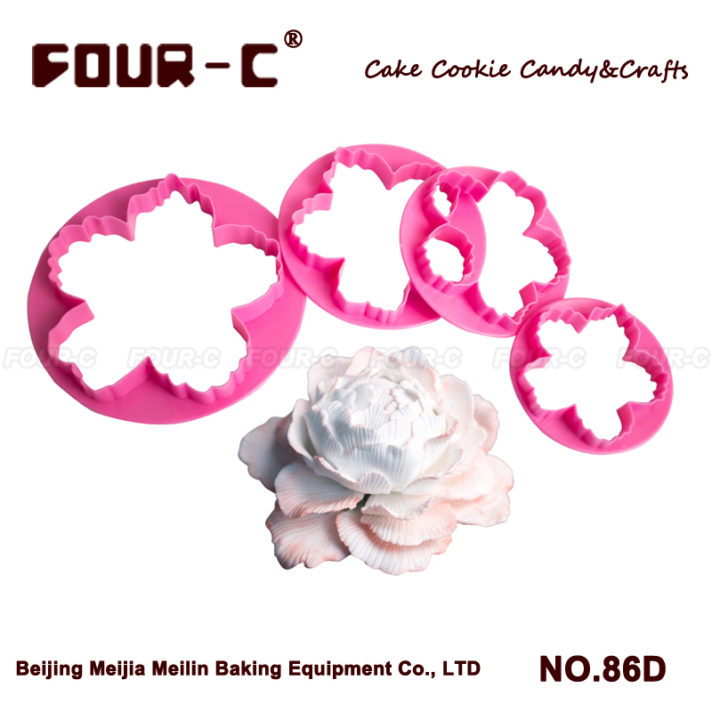 New flower food grade plastic cutter,poney flower cutter 4pcs,fondant decorating tool,kitchen accessory cutter set,free shipping(China (Mainland))