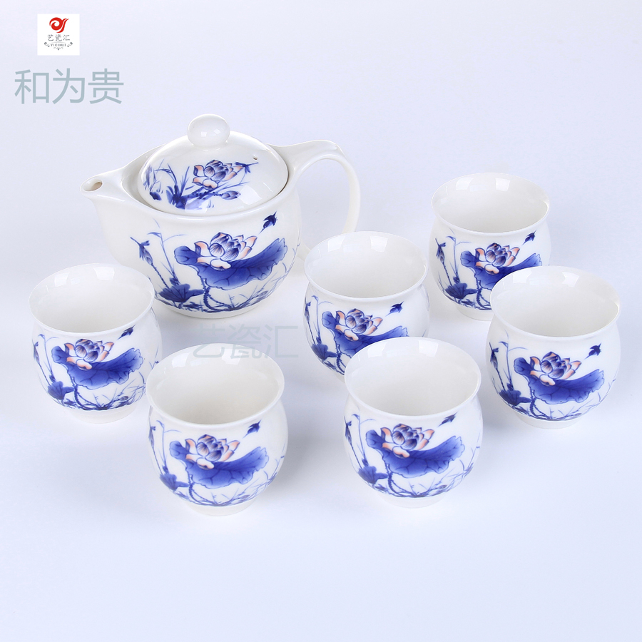 Double layer tea 7 insulated glass tea set blue and white ceramic teapot kung fu tea