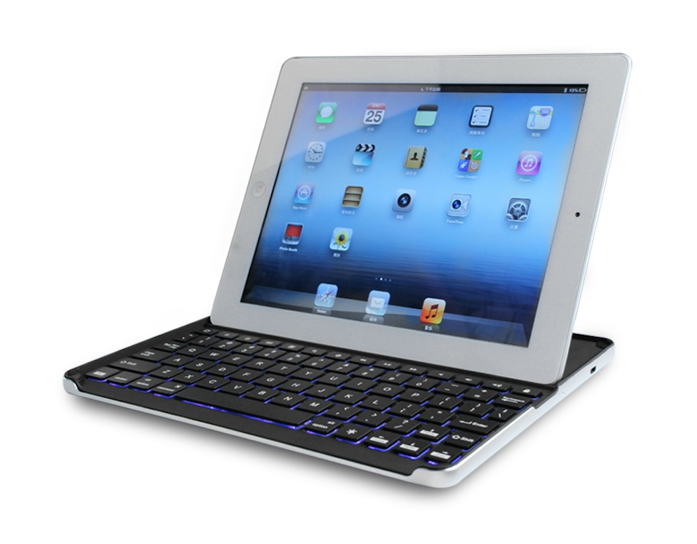For iPad 2/3/4 Colorful Backlit Wireless Bluetooth Keyboard with Aluminum Alloy Shell(China (Mainland))