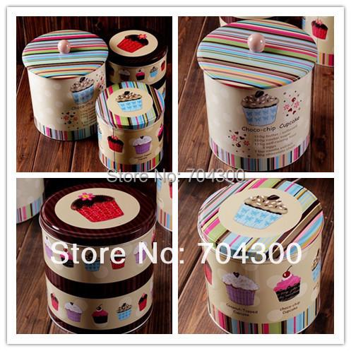 Jumbo Choco-chip Design Cookie Jar Candy Can Home Storage tin 3 pcs set cake storage food storage box container(China (Mainland))