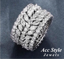 Trendy Women's Jewelry Hand Made Cubic zirconia Ring White Gold Plated Rings With Shining Austrian Crystals C90139R(China (Mainland))