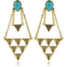 Prata Antigo Brincos Gypsy Boho Earrings Vintage Chic Boucles D'oreilles Boheme Faux Turquoise Chandelier Statement Earrings(China (Mainland))