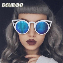 Moda Cat Eye Sunglasses Mulheres Marca Designer Óculos de Sol Para Senhoras Do Vintage Oculos UV400 Espelho Colorido-Lens Feminino RS167