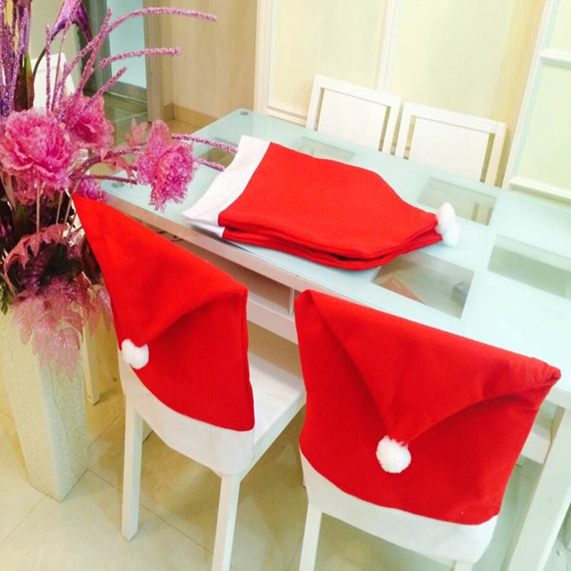6 pcs 2015 New Fashion Santa Clause Red Hat Chair Back Cover Christmas Dinner Table Party Decor For Christmas E5M1(China (Mainland))