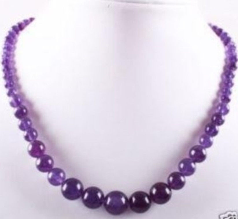 "women hot sale Fashion high quality Beautiful Lovely!6-14mm Amethyst Round Beads Jasper Necklace 18"" Wholesale and retail(China (Mainland))"