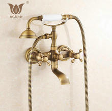 Buy Free Classic NEW Antique Brass Rainfall Shower Set Faucet + Tub Mixer Tap + Handheld Shower Wall Mounted FES-7011 for $82.65 in AliExpress store