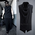 2016Big yards men s clothing M 4XL Slim sleeveless T shirt punk placketing pullover vest male