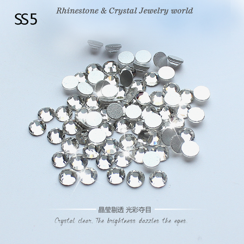 Shiny SS5 (1.7-1.9mm) crystal deals nail art 1440pcs 3D non hotfix rhinestone CRYSTAL CLEAR glue on flatback rhinestones(China (Mainland))