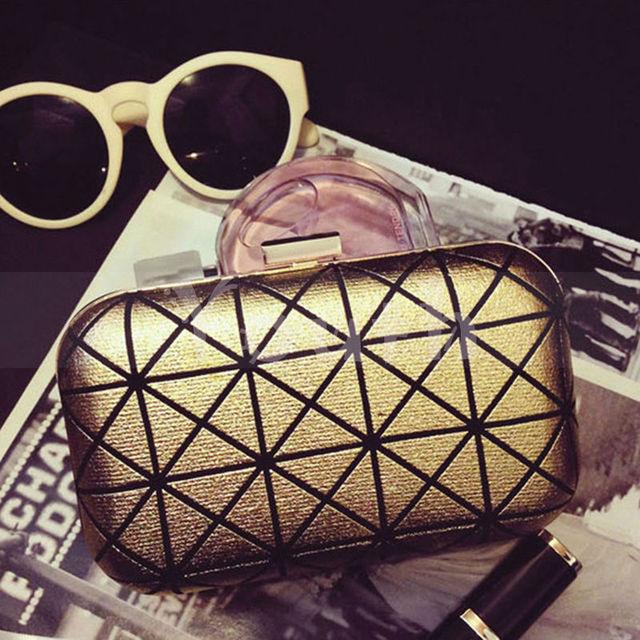 Мода марка бронзировать вечерняя сумочка известные горячая распродажа плед геометрические сумки обледеневшая клатч ватные трудно цепи - GH2