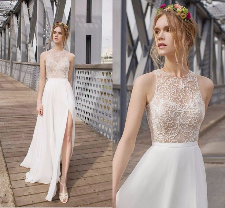 2015 sexy wedding dresses flowing chiffon white beads for Flowing beach wedding dresses