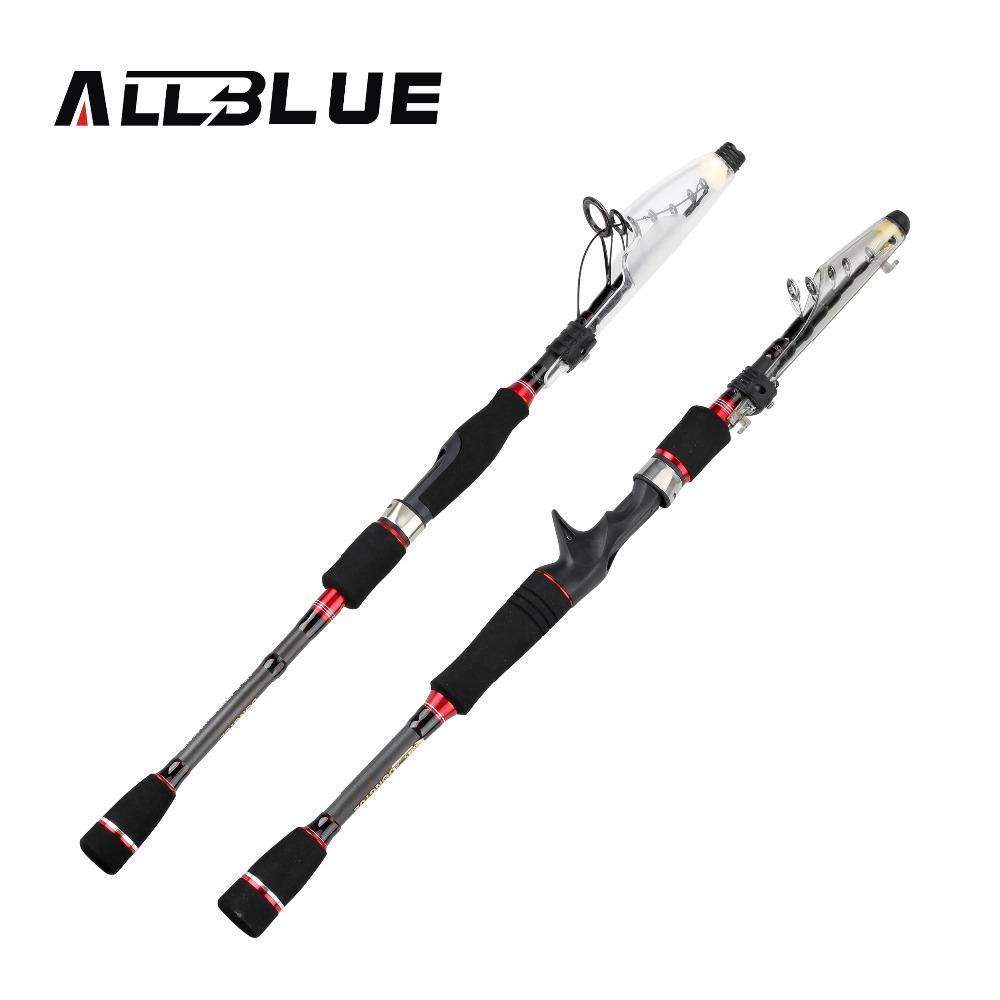 ALLBLUE RedWolf Carbon Fiber Telescopic Fishing Rod 1.95m 2.1M 2.4M 2.7M Spinning Casting Rod Saltwater Fishing Travel Rod(China (Mainland))
