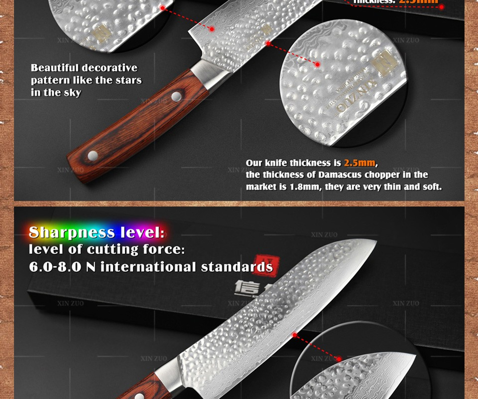 "Buy XINZUO 7"" inch santoku knife Japanese VG10 Damascus steel kitchen chef knife Japanese chef knife color wood handle FREE SHIPPING cheap"