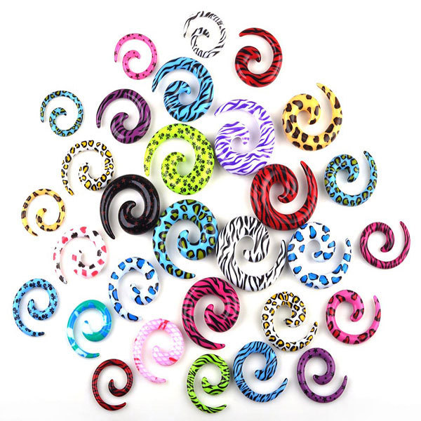 Mix Lot Wholesale 120Pcs Leopard Print Spiral Ear Tapers Body Jewelry Lots Acrylic Ear Tapers Fake Ear Expander Plug Tunnel Kit <br><br>Aliexpress