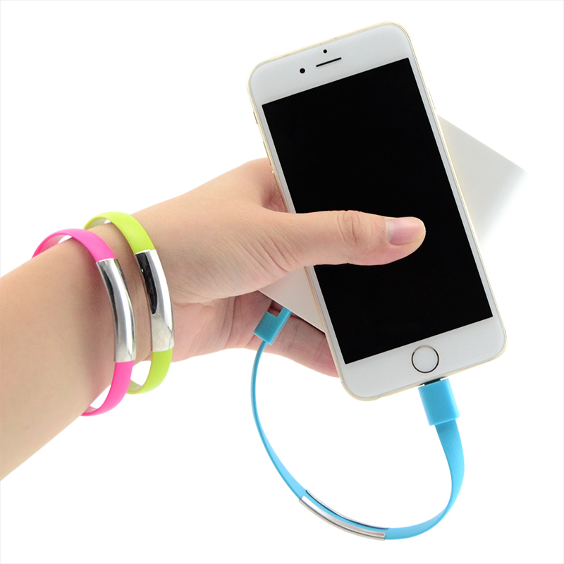 Fashion Wrist Bracelet Charging Mobile Phone Cables Micro USB Data Cable For Apple iPhone 5 5s 6s 6 Plus iPad ios 8 Pin Charger(China (Mainland))