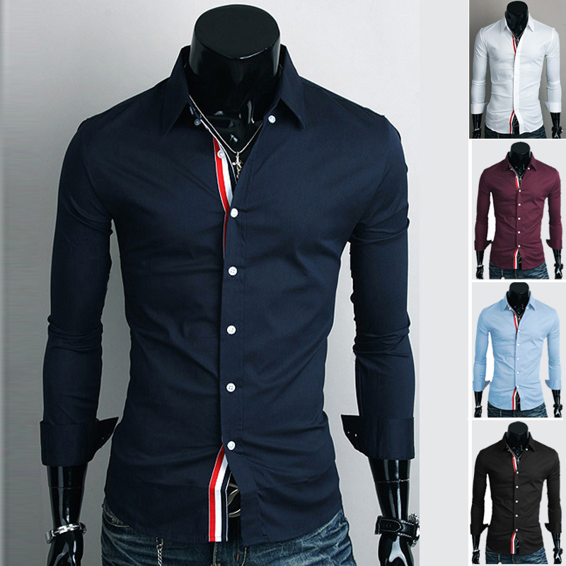 2015 Fashion Mens Dress Shirts Cotton Long Sleeve 5 Solid