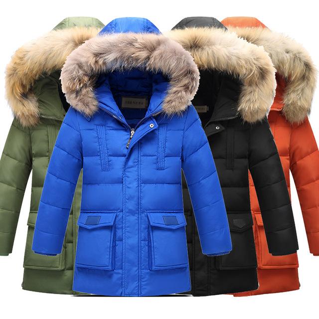 Зимние мальчики снег белый вниз jakcet жира большой искусственный мех воротник теплый плюс размер 130-170 мальчик пальто верхняя одежда для chindren пальто