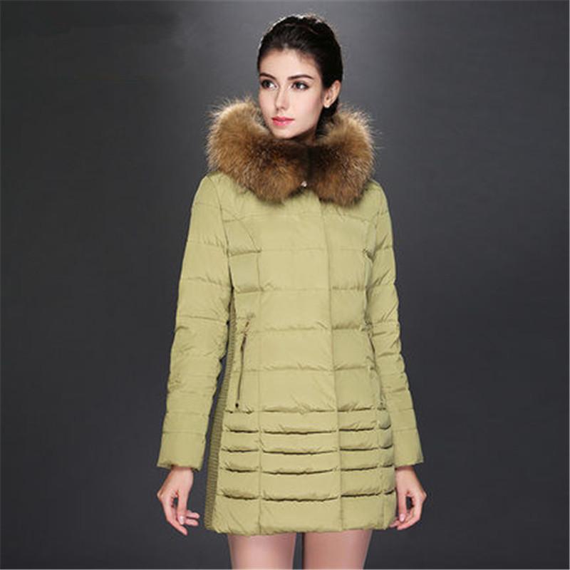 Women Medium Long White Duck Down Jacket 2015 Winter Women Real Fur Collar Thick Hooded Coat Warm Parkas Female LJ3535