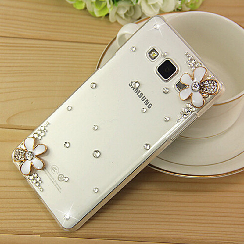 New 3D White Flower Bling Crystal Diamond Transparent Cell Phone Shell Back Cover Hard Case For Samsung Galaxy A3 2016 SM-A310F(China (Mainland))