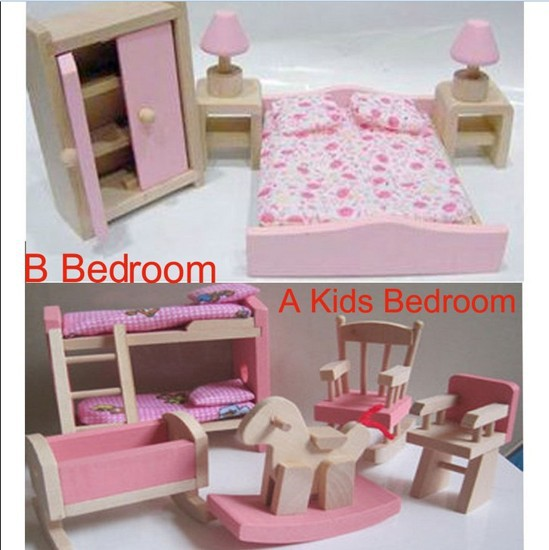 New Arrive Wooden Dolls House Furniture kid room Bedroom pretend play toy 5PC SET Miniature(China (Mainland))