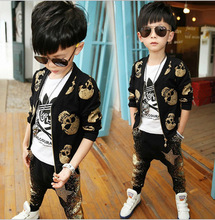 2015 Children's Spring and Autumn clothing children long-sleeved suit boys fashion skull harem pants Korean Sets(China (Mainland))