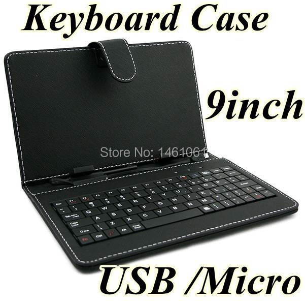 Free DHL 9inch Universal Protective Tablet PC keyboard leather case cover for 7/ 8/9 /9.7/10.1 Inch tablets with MICRO Mini USB(China (Mainland))