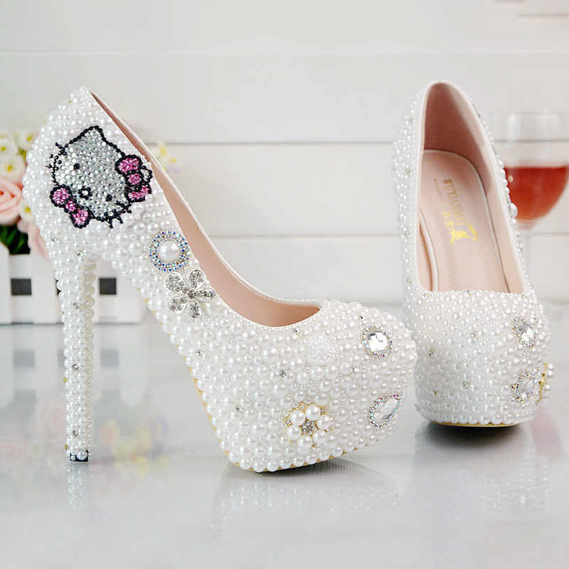 Women Pearls Diamond Rhinestone Kitty Cat Pumps High Heels Shoes Female Handmade Wedding Bride Dress Shoes 9 Cm 11 Cm 14 Cm(China (Mainland))