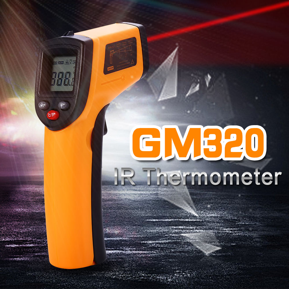 Digital GM320 Laser LCD Display Non-Contact IR Infrared Thermometer -50 to 380 C Auto Temperature Meter Sensor Gun Point(China (Mainland))