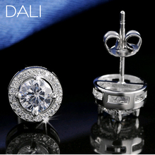 DALI Hot Sale Women Earring Stud 0.75ct CZ Zircon Crystal Jewelry Stud Earrings Platinum Plated DE104(China (Mainland))