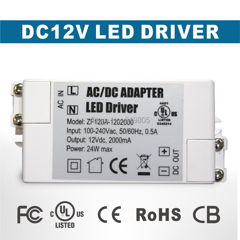 Durable Low Power Consumption AC/DC Adapter 24W 2A Led Driver 12V Lighting Transformers Power Supply Free shipping(China (Mainland))