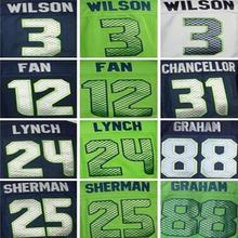 Men's 24 Marshawn Lynch shirts jersey #3 Russell Wilsons 25 Richard Sherman Kam Chancellor jersey size 40-56 can mix order(China (Mainland))