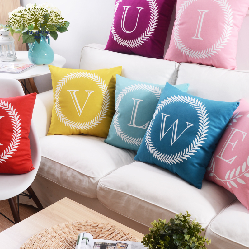 Free shipping 26 letters alphabet Pillow Cover stylish and simple Chair Cushion creative cozy Home   Pillow Decoration wholesale