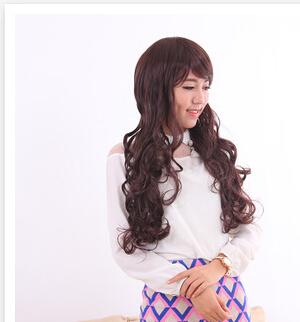 Long Curly Wig Female FaYa Light Fluffy Face Big Waves Repaired Life Like Scene Shooting Ms Qi inclined Bang Wig(China (Mainland))