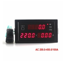 Multi-function AC voltmeter Ammeter amp volt Power Meter Monitor AC 200-450V AC 0-100A with Red Led