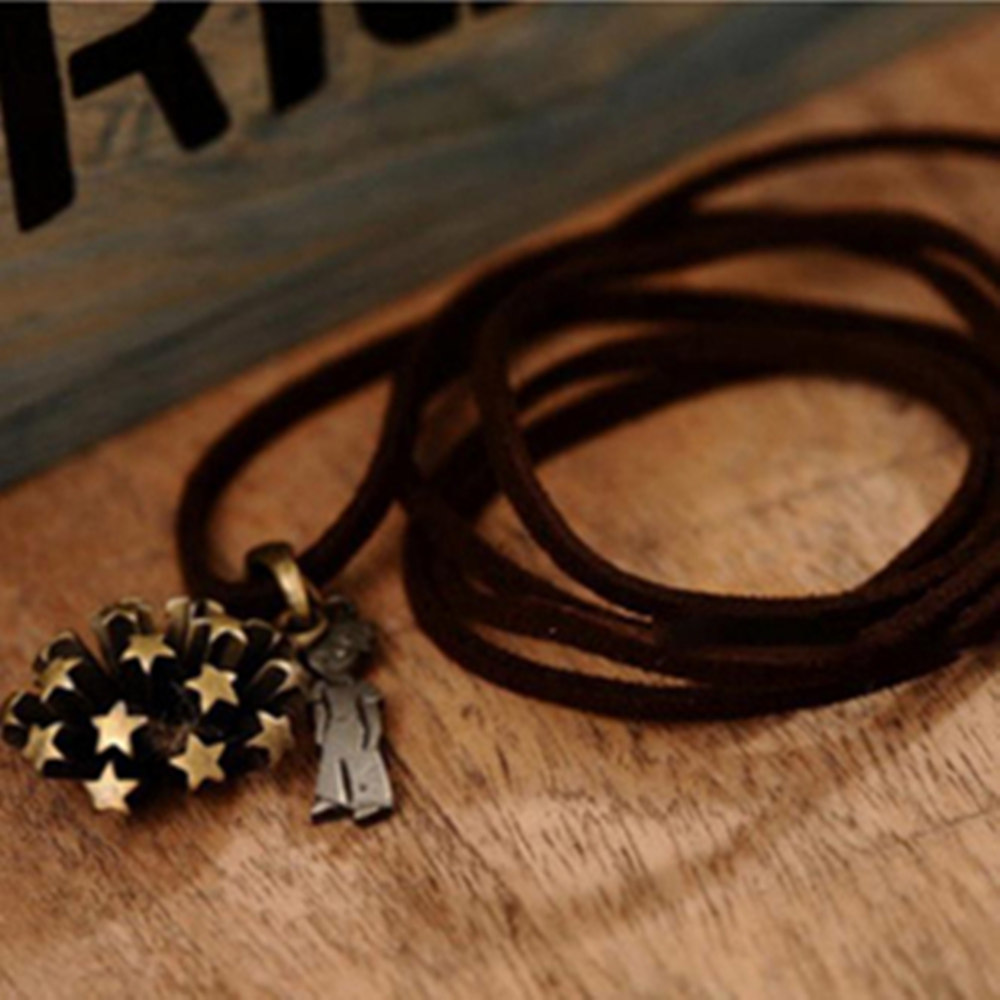 2015 new design high quality fashion star vintage flower the little prince necklace jewelry women long sweater chain necklaces