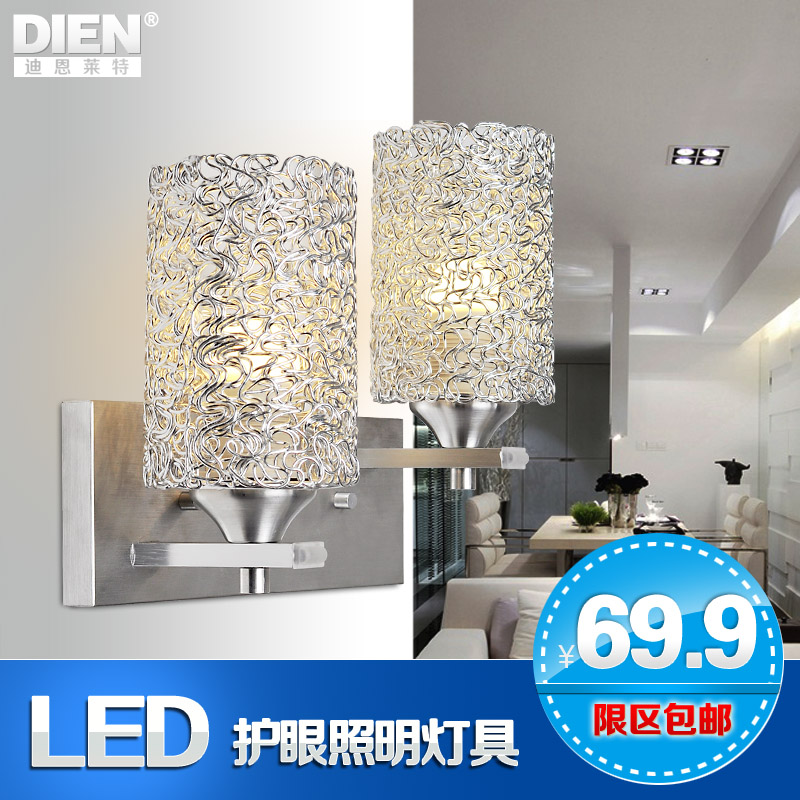 Modern brief led single double slider wall lamp ofhead stair balcony lamps b1