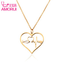 Buy AMORUI Heartbeat Women Jewelry Medical Heart Stethoscope Pendant Chain Necklace Stainless Steel Rose Gold/Gold/Silver Necklaces for $4.88 in AliExpress store