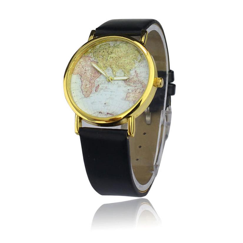 Hot marketing Womens Retro World Map Design Leather Alloy Band Analog Quartz Wrist Watch MAY20(China (Mainland))
