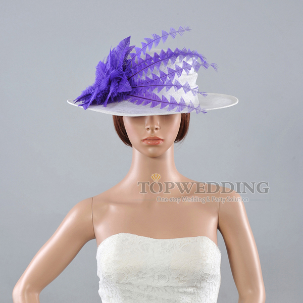 Elegant free shipping purple flower wedding dress church for Dress hats for weddings