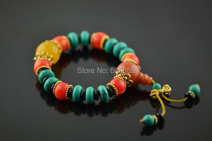 Tibetan Old Turquoise Rondelle Synthetic Amber Beads Mala Prayer Vajry Pestle Bracelets Buddhist Fashion jewelry