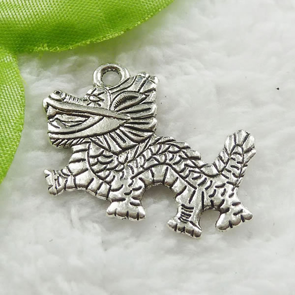 60 pieces antique silver dragon charms 33x26mm #671(China (Mainland))