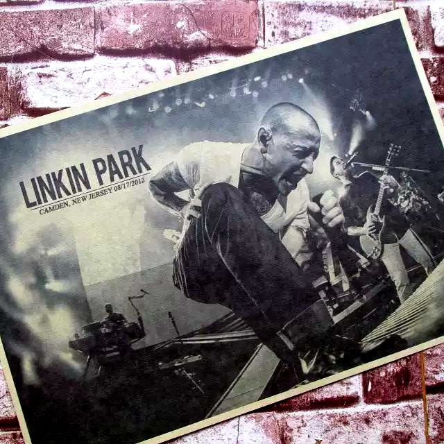 LINKIN PARK rock music stage star funs decorative Posters Kraft coffee house bar Home Decor classic gift wall sticker(China (Mainland))