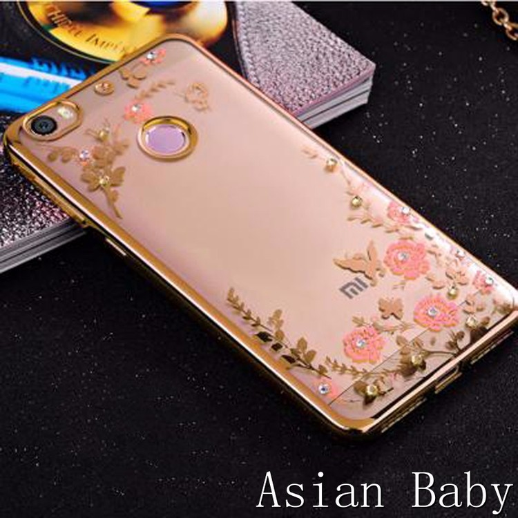 Flowers Soft TPU Phone Case Rose Gold Bling Diamond Silicon Cover coque for Xiaomi Hongmi Redmi Note 4 3 2 Redmi 4 3 2 3X 4A Pro