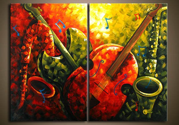 Oil painting on canvas modern art abstrac music art deco 100% handmade original directly from artist free fast shipping YP798(China (Mainland))