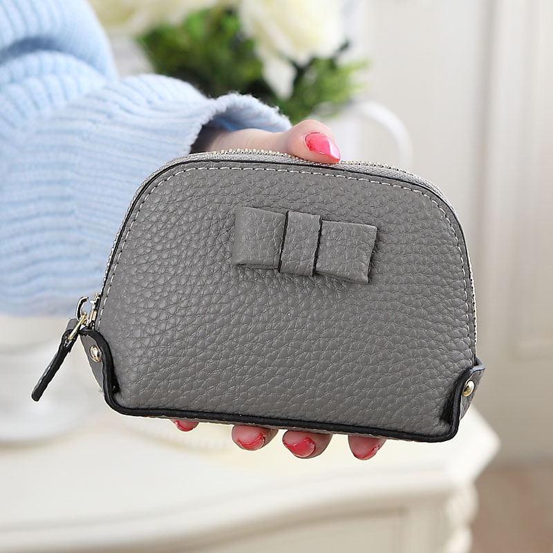 Fashion bow women genuine leather wallet small women leather coin purse soild color leather purse female(China (Mainland))
