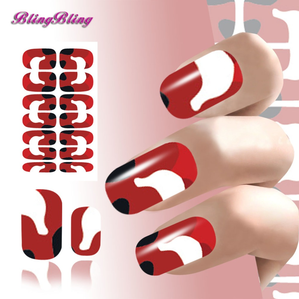 2016Nail Art Water Transfers Nails Stickers Red Simple Designs Nails Sticker Patch Foils Fingernails Decoration Decals(China (Mainland))