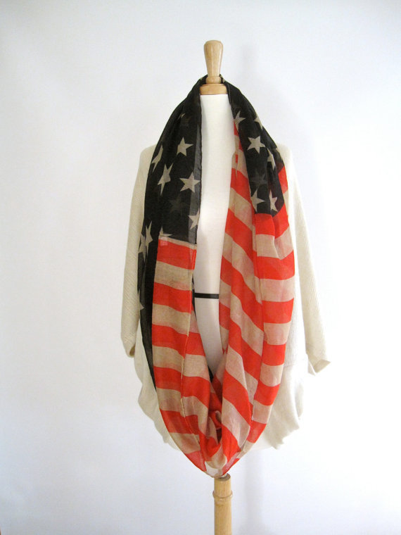 2015 New American flag infinity scarf for women and kids cotton snood circle scarf neck warmer cowl ring collar bufandas cuellos(China (Mainland))